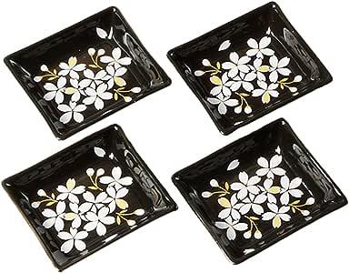 Cinf Japanese Cherry Blossom 4 inch Salad Dish Plates Set of 4 Black Ceramic Sauce Dish/Seasoning Dish/Sushi Dishes/Appetizer Plates/Serving Dish for Kitchen Home,Rectangular …
