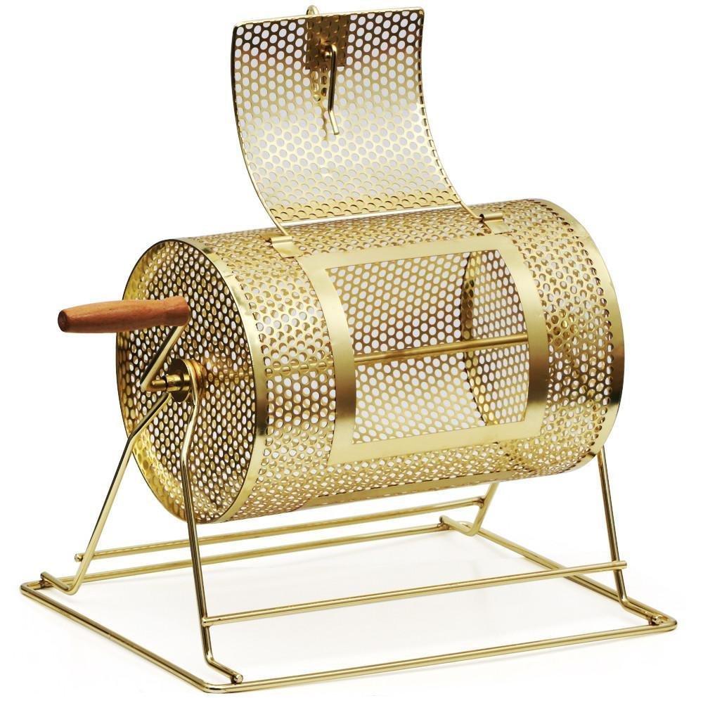 Topeakmart 11''x8'' Raffle Ticket Drum Brass Plated Casino Spinning Bingo Drum