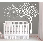Nursery Bedroom Wall Sticker -White Tree and Flying Birds Blossom Tree Wall Decal -Nursery Tree Mural for Kids Room-Left Face (All White)