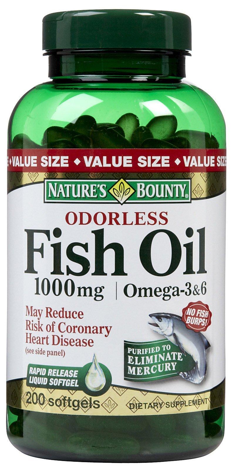 Nb Fish Oil 1000mg Oderle Size 200ct Nb Fish Oil 1000mg Oderless Omega-3 & Omega-6 Softgels 200ct