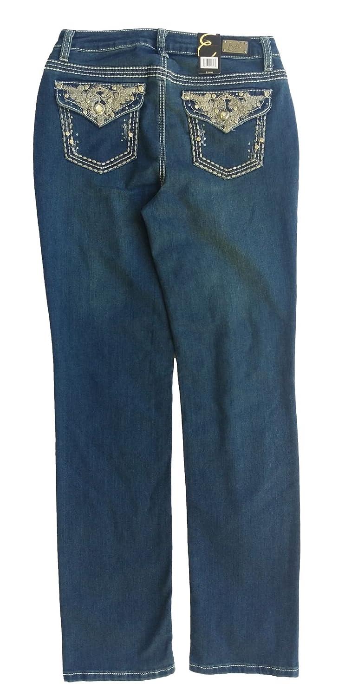 Earl Jean Womens Straight Leg Jewel Jeans, Dark