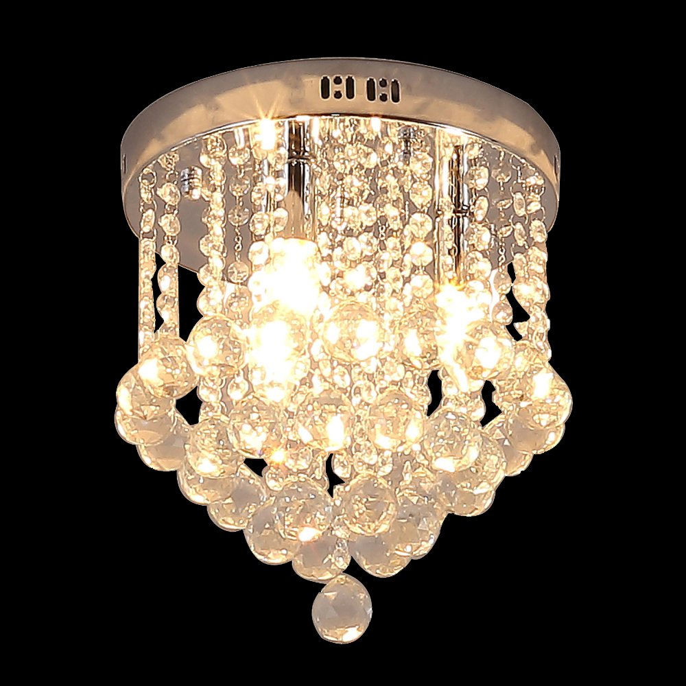 Glighone Crystal Chandeliers Ceiling Lights G9*3 Modern Glass Crystal Ceiling Light Pendant Lamp Crystal Chandelier for Kitchen Hallway Living Room Bedroom Dining Room (Bulb Included) [Energy Class A+]