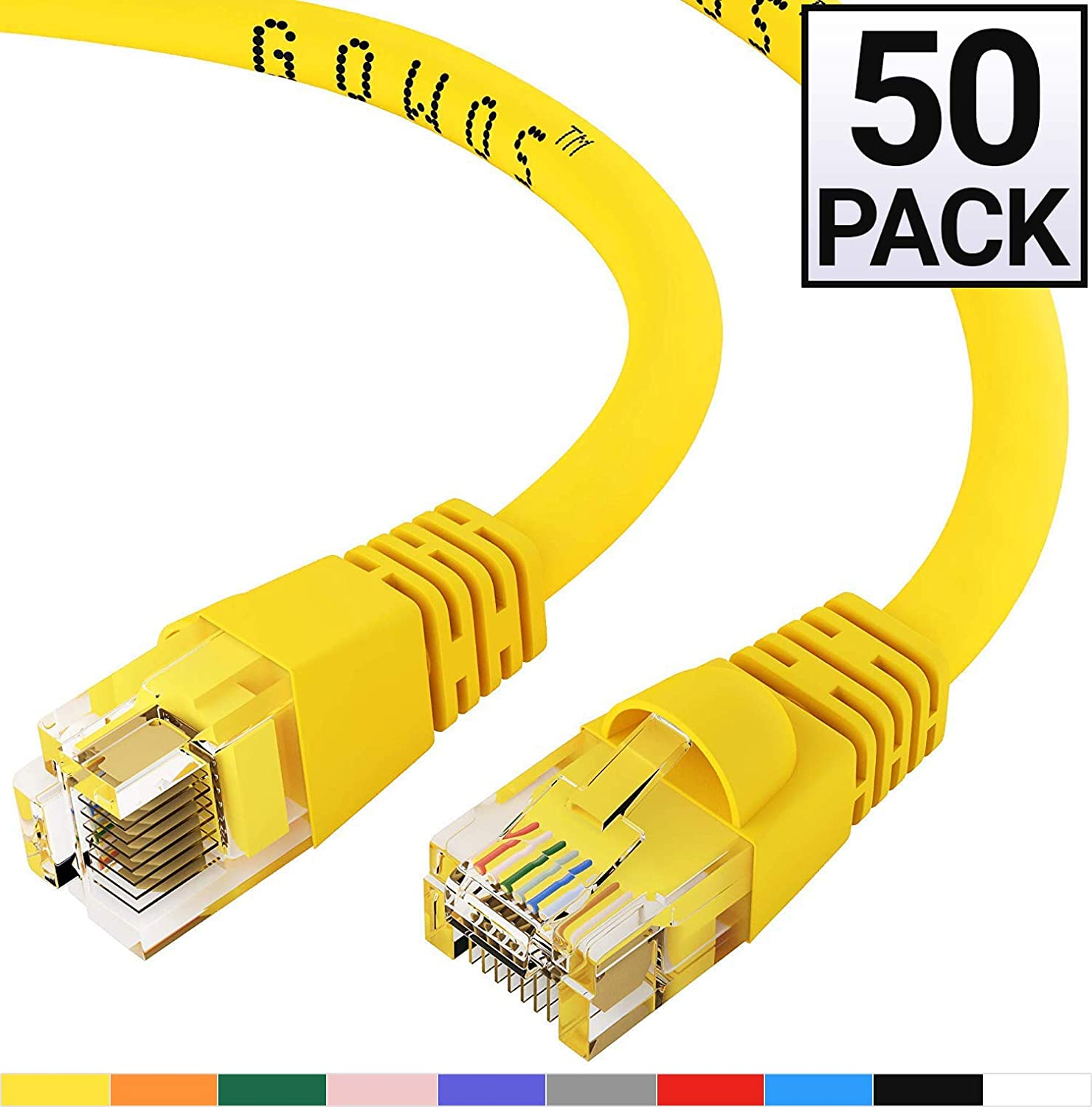 RJ45 10Gbps High Speed LAN Internet Patch Cord Cat6 Ethernet Cable GOWOS 50-Pack 7 Feet - Purple Computer Network Cable with Snagless Connector Available in 28 Lengths and 10 Colors UTP