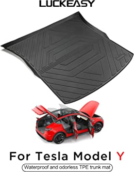 LUCKEASY Car Accessories Interior Modification For Tesla Model Y Waterproof Piano Style TPE Floor Mat Front Rear Trunk Mat Floor mat