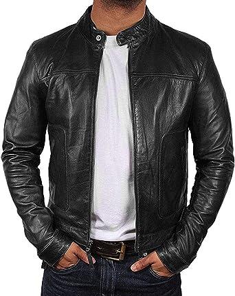 Biker Real Sheep Skin Slim Fit Cafe Racer Black Leather Jacket
