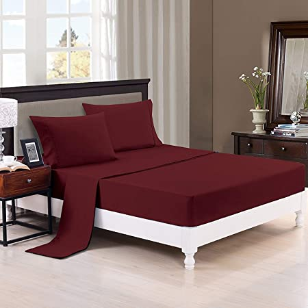 Trance Home Linen Cotton 400TC Plain Fitted Bed Sheet with 2 Pillow Covers - Maroon (King)