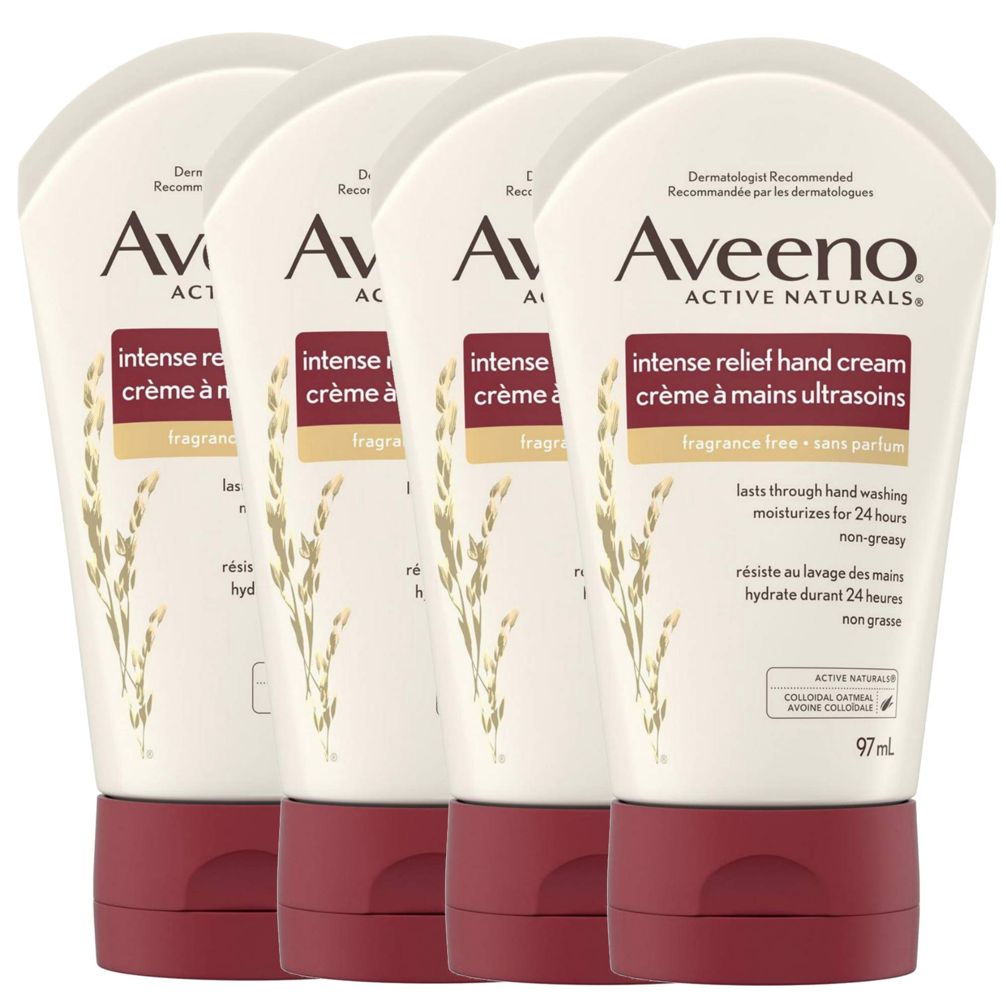 Aveeno Intense Skin Relief Hand Cream with Natural Colloidal Oatmeal, 24Hr Moisture/Non Greasy/Fragrance Free - 13.2 Fl Oz - 4 Pack x 3.3 Fl Oz / 97 mL Each by Aveeno