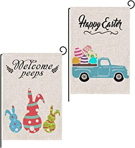 YBB 2 Pcs Happy Easter Welcome Peeps Garden Flag, Easter Bunny Rabbit Eggs Farm Truck Double Sided 12 x 18 Inch Vertical Burlap Flags for Home Yard Party Spring Decor