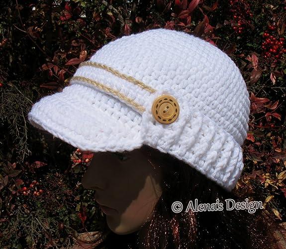 Amazon Crochet Brimmed Visor Hat Handmade Hat Newsboy Cap White