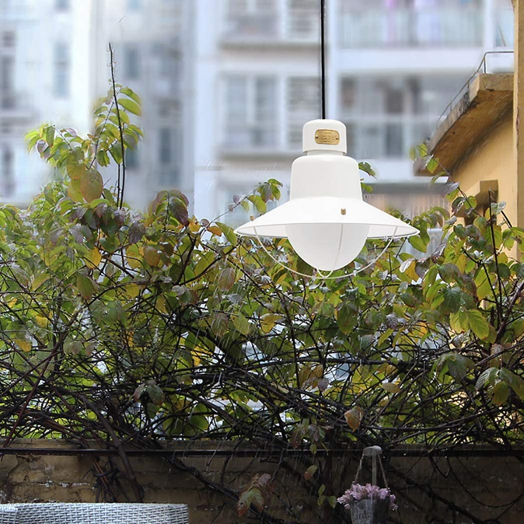 Luz colgante al aire libre, línea de pesca industrial retro Lámpara colgante de vidrio con luces colgantes de hierro forjado para patio con corredor Gazebo,C