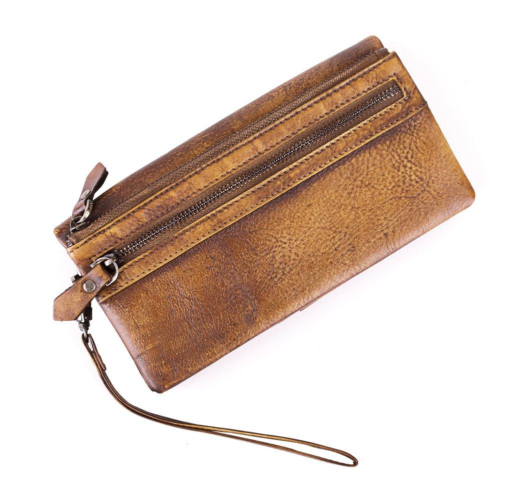 Yaoko Men's Luxury Genuine Soft Sheepskin Leather Long Purse Business Mens Wallet Money Clip (Brown)