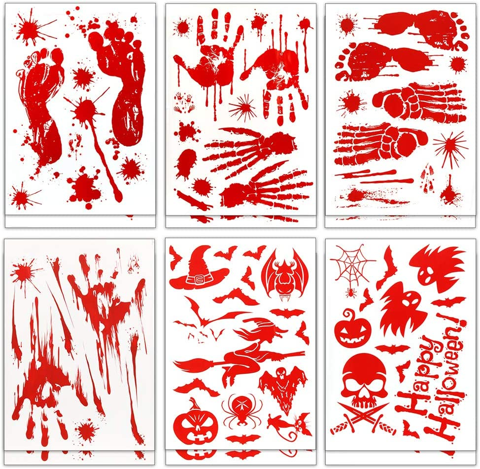 Coogam 150PCS Halloween Bloody Decal Decoration, Removable Horror Bathroom Sticker Window Cling, Bloody Handprint Footprint Bloodstain Spooky Spider Bat Pumpkin Shape for Hallowmas Party Decor