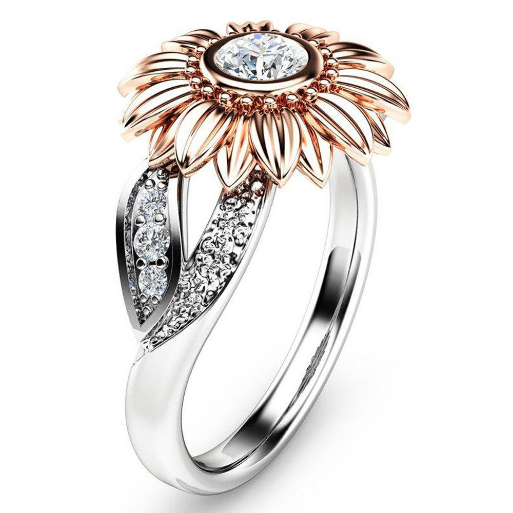 Rings Diamond for Women,Discountsday Exquisite Women's Two Tone Silver Floral Ring Round Diamond Sunflower Jewely (RG10)