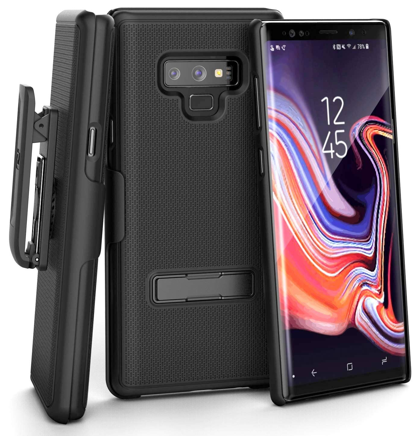 Smooth Black Ultra Slim Grip Cover with Holster Shell Combo Clip and Durable Metal Media Stand Encased Belt Case for Galaxy Note 9 Case with Kickstand for Galaxy Note 9 Phone