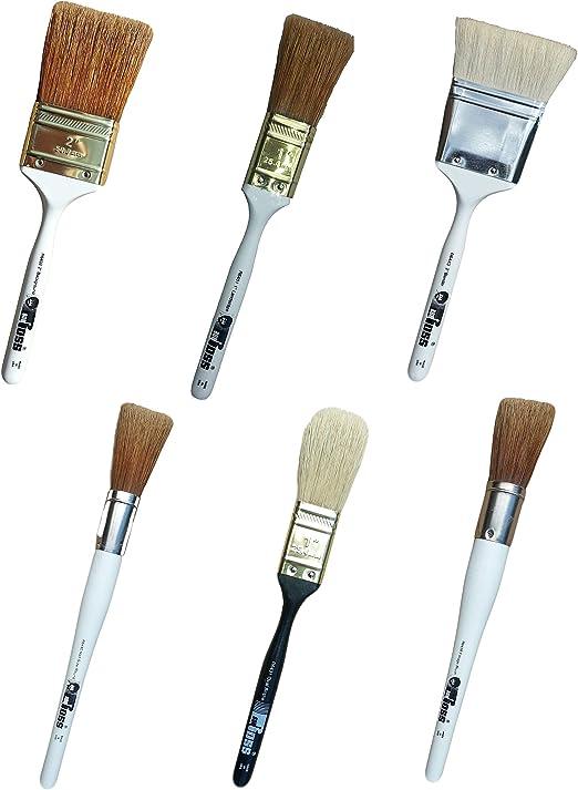 Amazon.de: Bob Ross Pinsel-Set, 6 Stück 2, 5 cm Querformat, 2, 5 cm oval,  2, 5 cm Blattwerk, 5 cm Mischer, 5, 1 cm Hintergrund
