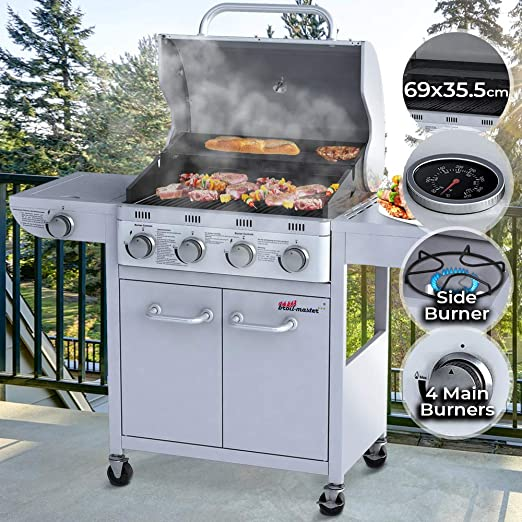 Silver Outdoor Barbecue BBQ Gas Grill Thermometer 1 Side Burner Garden Grill Steel 6 Main Burners 4 Wheels Gas Grill Burner Lid