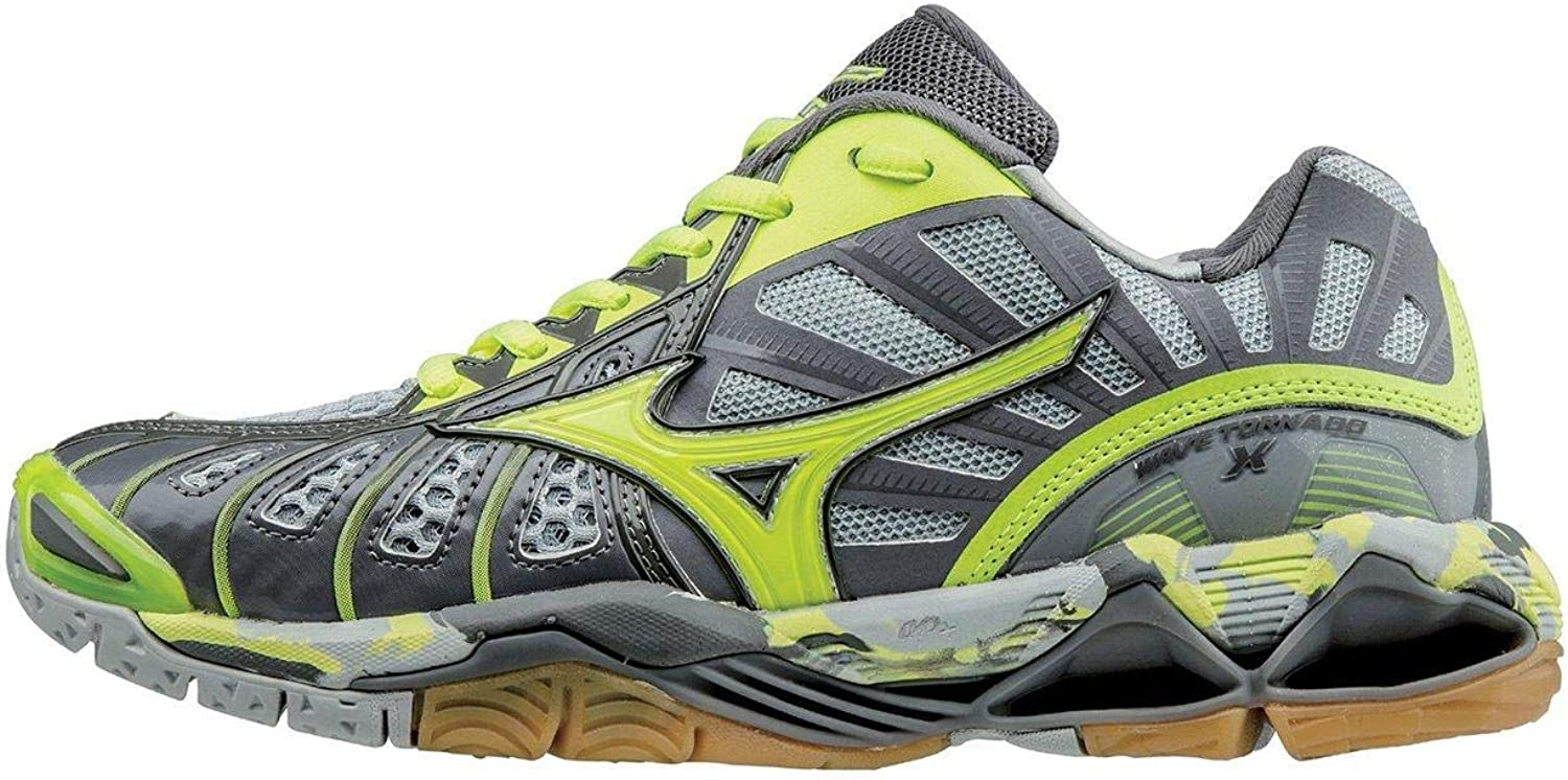 [Mizuno] Wave Tornado X Volleyball Shoe 銀 / 黄 / グレー 8 M US