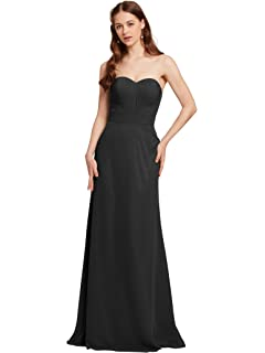 AWEI Strapless Prom Dresses for Women Long Bridesmaid Dresses Pleated Evening Dresses 2018