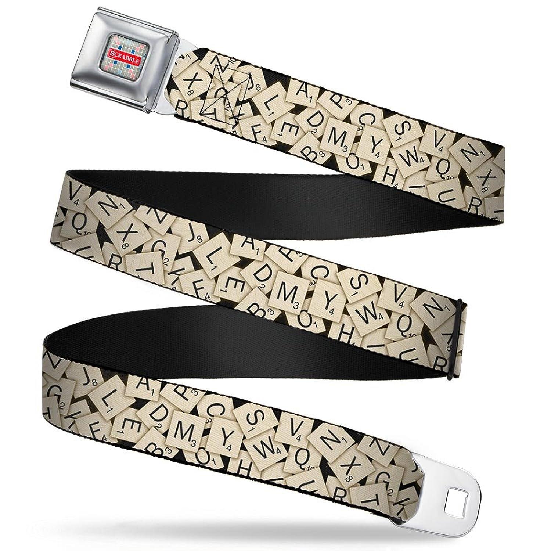 Amazon.com: Scrabble Tiles Stacked Black Seatbelt Belt: Clothing