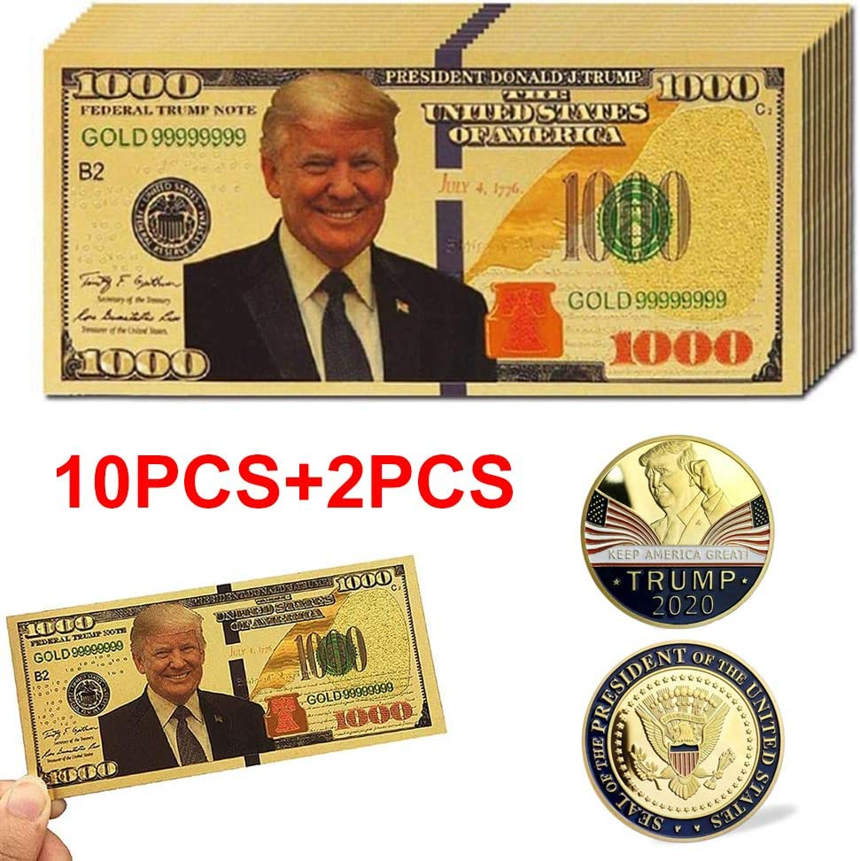 AAWWMI 10 Pcs Donald Trump $1000 24k Gold Coated Dollar Bill Banknote+2 Pcs Gold-Plated Donald Trump Commemorative Gold Coin,Legacy Limited Edition Million Dollar Bill- Keep America Great