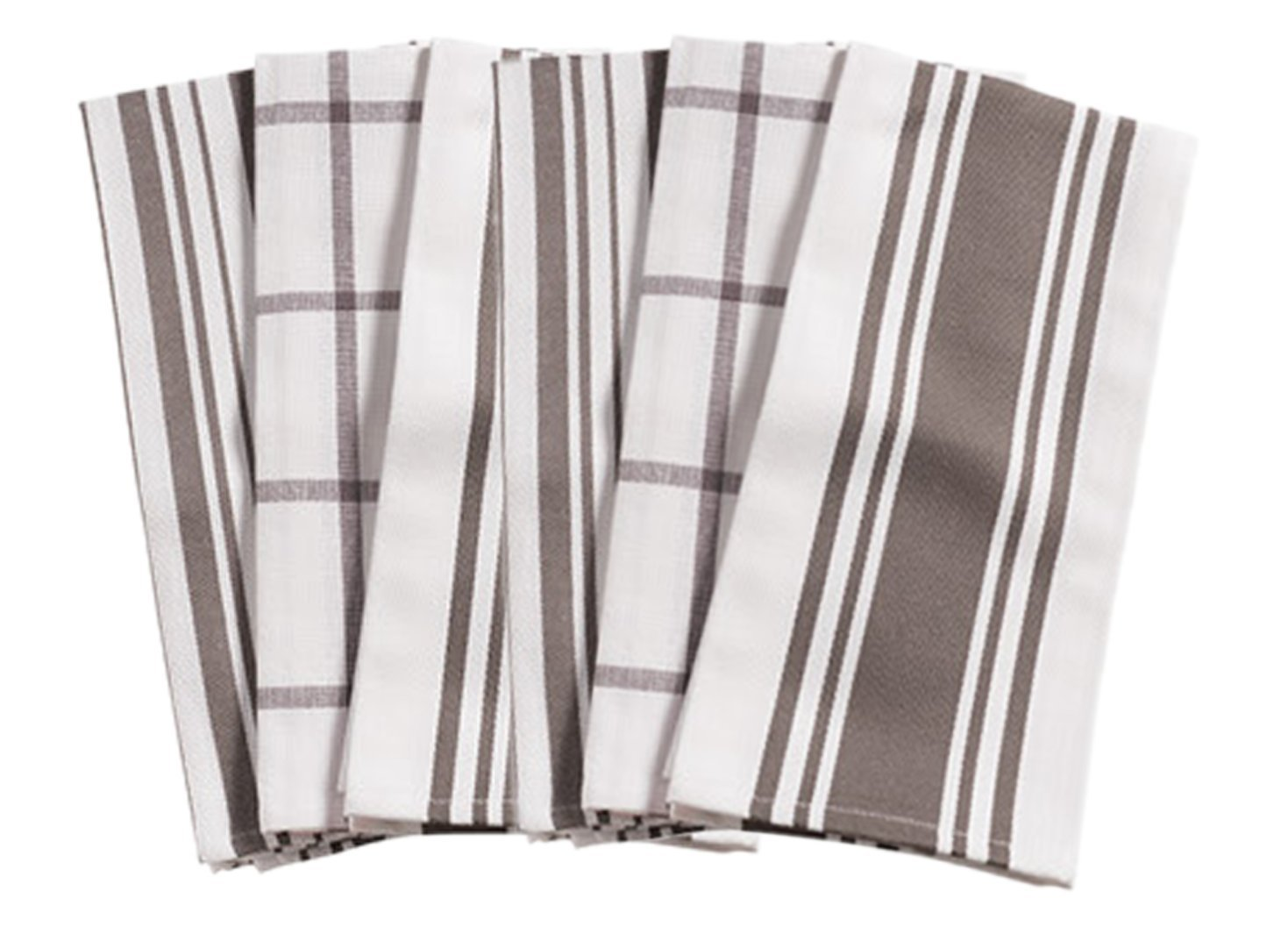 KAF Home Kitchen Towels, Set of 6, Pewter & White, 100% Cotton, Machine Washable, Ultra Absorbent