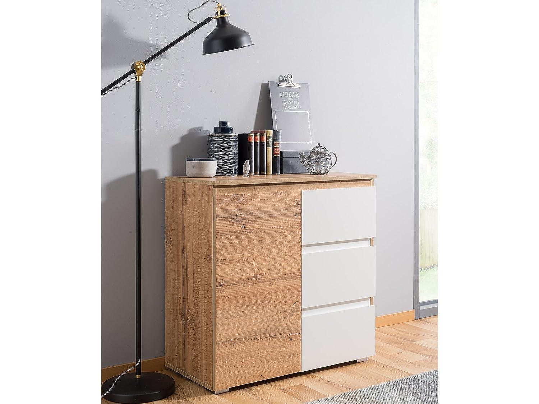 Möbelando Kommode Standschrank Anrichte Highboard Sideboard Schrank Holz Flur Ravenna II Honig-Eiche Weiß