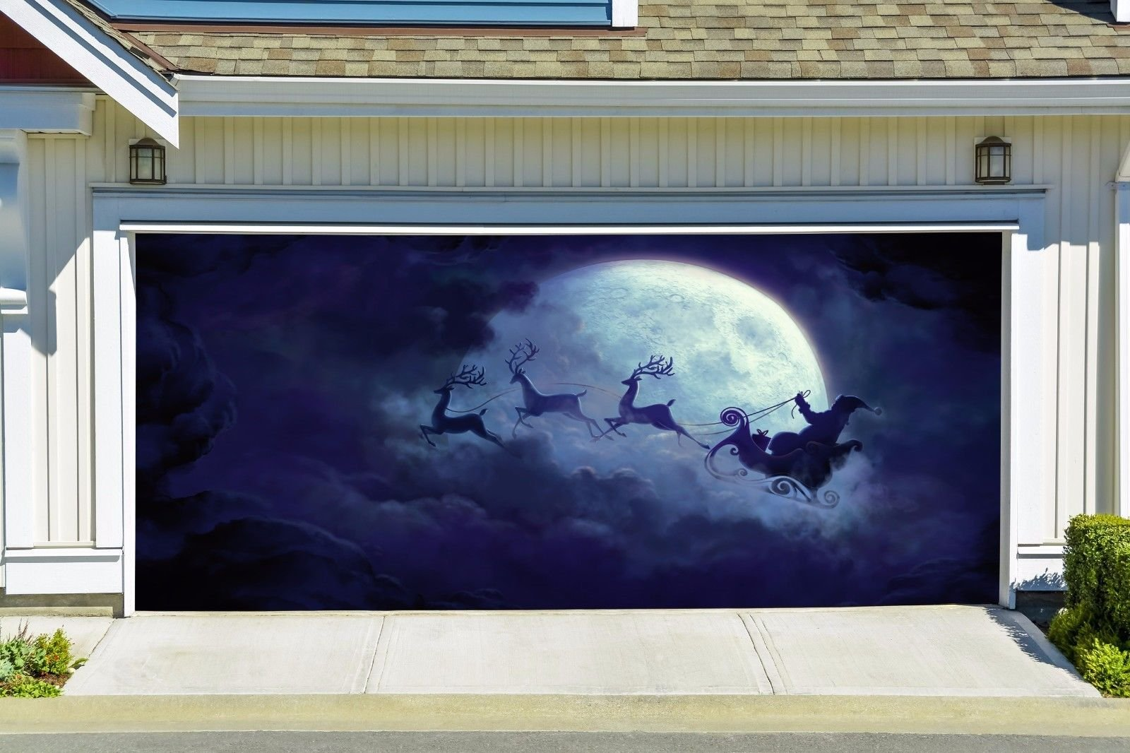 Merry Christmas Santa Claus On Reindeer Sleigh Ride Banners for 2 Car Garage Door Covers Outdoor Billboard Garage Door Holiday Christmas Decor Full Color House Murals size 82x188 inches DAV23