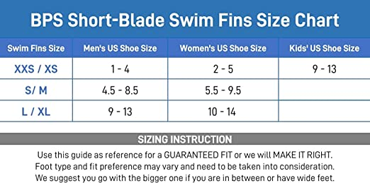 Diving and Snorkeling BPS Short-Blade Adjustable Swim Fins//Flippers and Full Gear Snorkel Set for Swimming