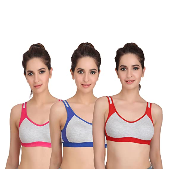 dfb398f98 Embibo Sport Women Running Bra Full-Coverage Bras Blue Red and Pink Bra  Size 30