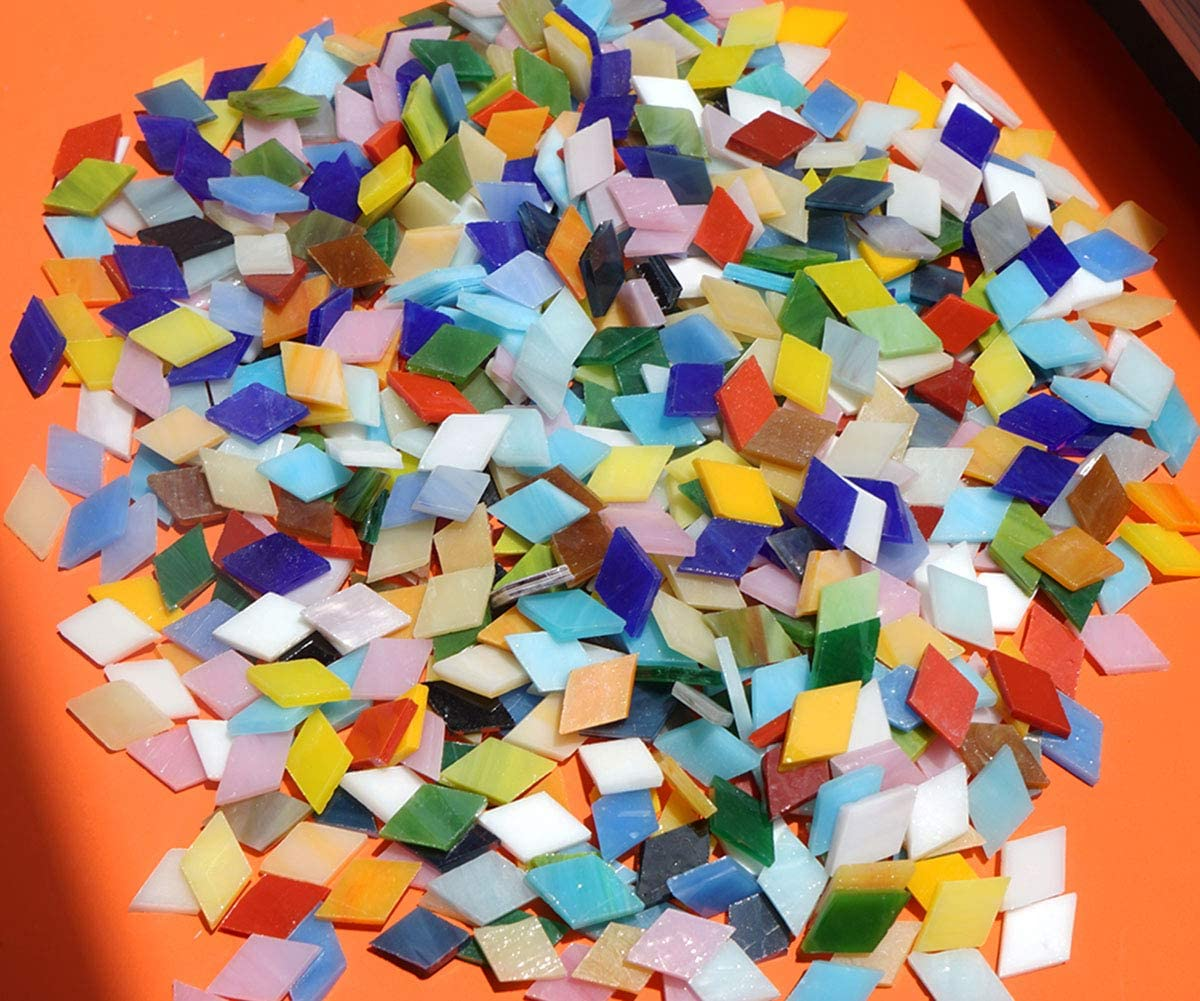 4 oz Nipped Opaque Stained Glass Mosaic Tiles Leaves Triangle Mixed Greens