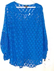 Alfani Cobalt Blue Polka Dot Lace Inset Sheer Long Sleeve Pullover Top Cami 2 Piece Set