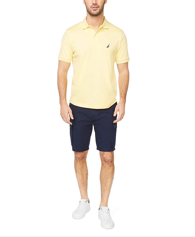 Nautica Men's Classic Fit Short Sleeve Solid Soft Cotton Polo Shirt Corn