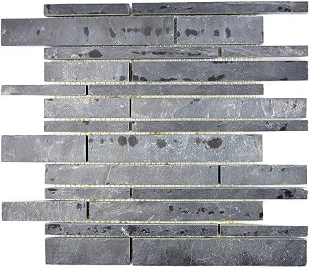 Mosaique Carrelage Ardoise Pierre Naturelle Brick Ardoise Noir Pour Revetement Sol Miroir Mural De Salle De Bain Wc Douche Cuisine Carrelage Comptoirs Baignoires Revetement Mosaique Tapis Mosaique Plaque Amazon Fr Bricolage
