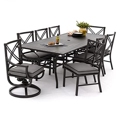 Lakeview Outdoor Designs Audubon 8 Person Patio Dining Set With 6 Side  Chairs 2 Swivel Rockers