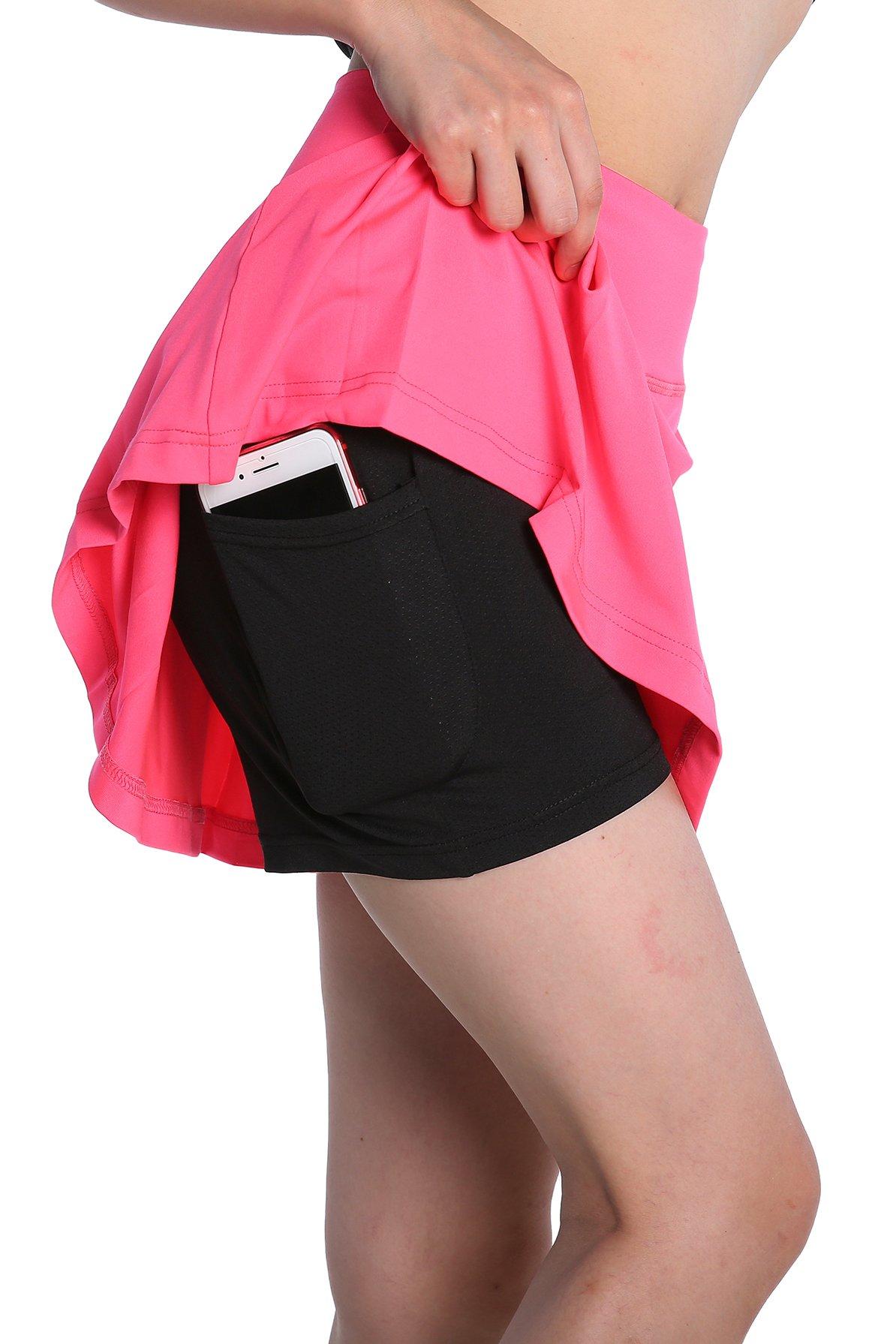 Annjoli womens running skorts golf tennis workout skirt (XL, Magenta)