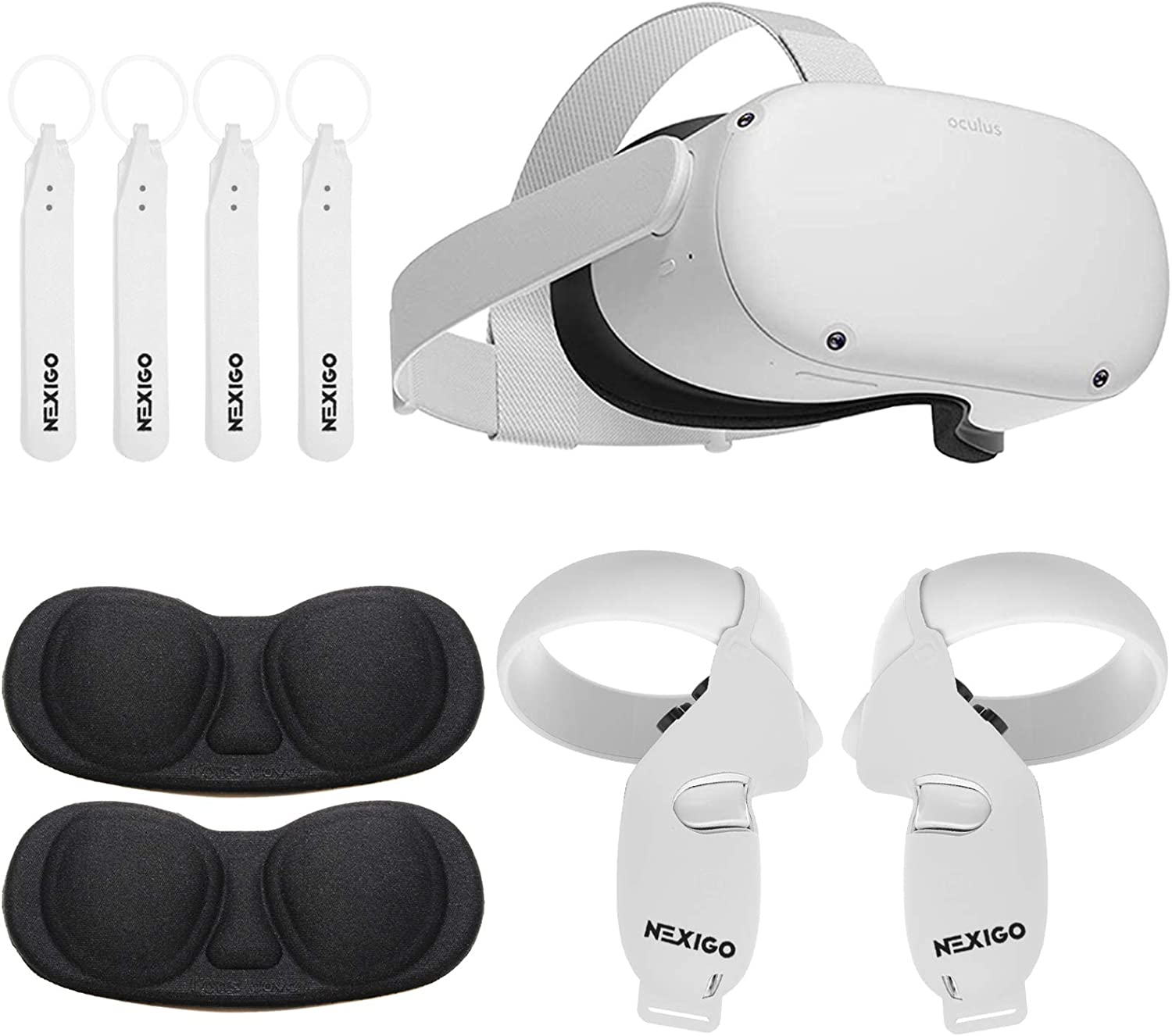 Oculus 2020 Newest Quest 2 VR 256GB Holiday Bundle, Advanced All-in-One Virtual Reality Gaming Headset, NexiGo Controller Grip Cover White + Knuckle Strap + Lens Protect Cover Accessory Bundle
