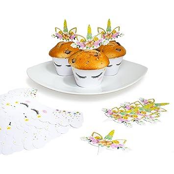 Oblique Unique 24 Einhorn Muffin Cupcake Topper Mit Wrapper Box