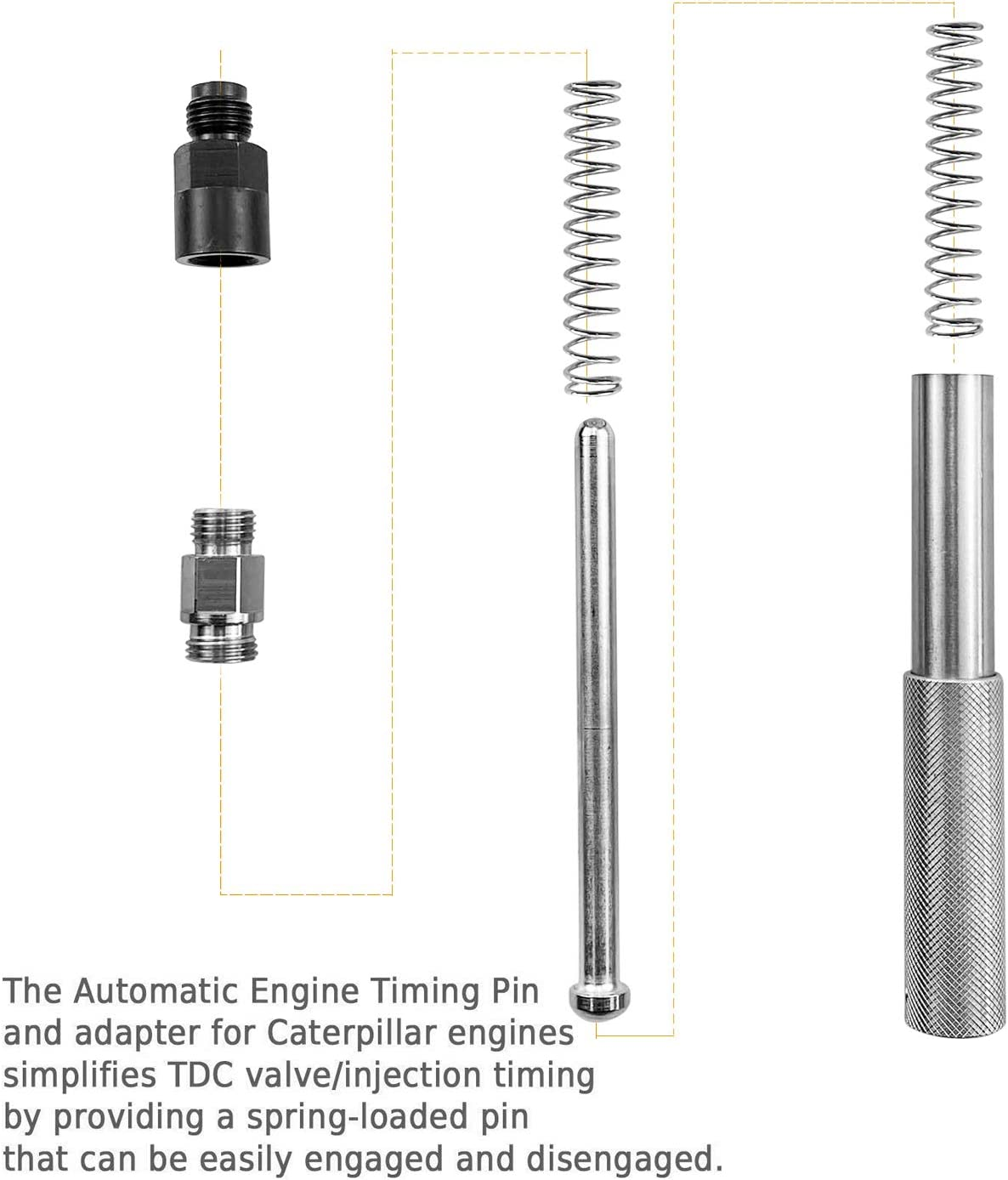 Mekar Automatic Engine Timing Pin with Adapter for Caterpillar 3200 3300 3406 C-9 C-16 TDC Valve//Injection Timing,Replace J-42083 C-11 C-13 C-15 3408,C-7
