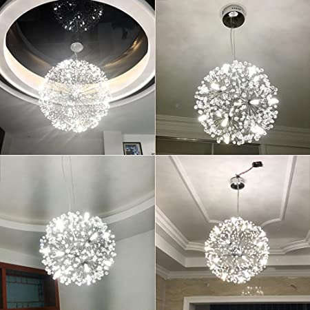 Amazon.com: Modern Dandelion Led Crystal Ball Pendant Light Dining Room Restaurant Design Lamp Home Decor Chrome Fixture G4 Bulb (Size : D60CM) : Home & ...