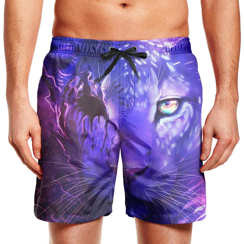 Mens Swimming Trunks Board Shorts Dark and Light Tiger Stretch Board Side Pockets Beach Wear Shorts Funny