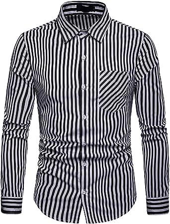JOLIME Camisas Hombre Manga Larga de Rayas Slim Fit Casual Formal Trabajo con Bolsillo