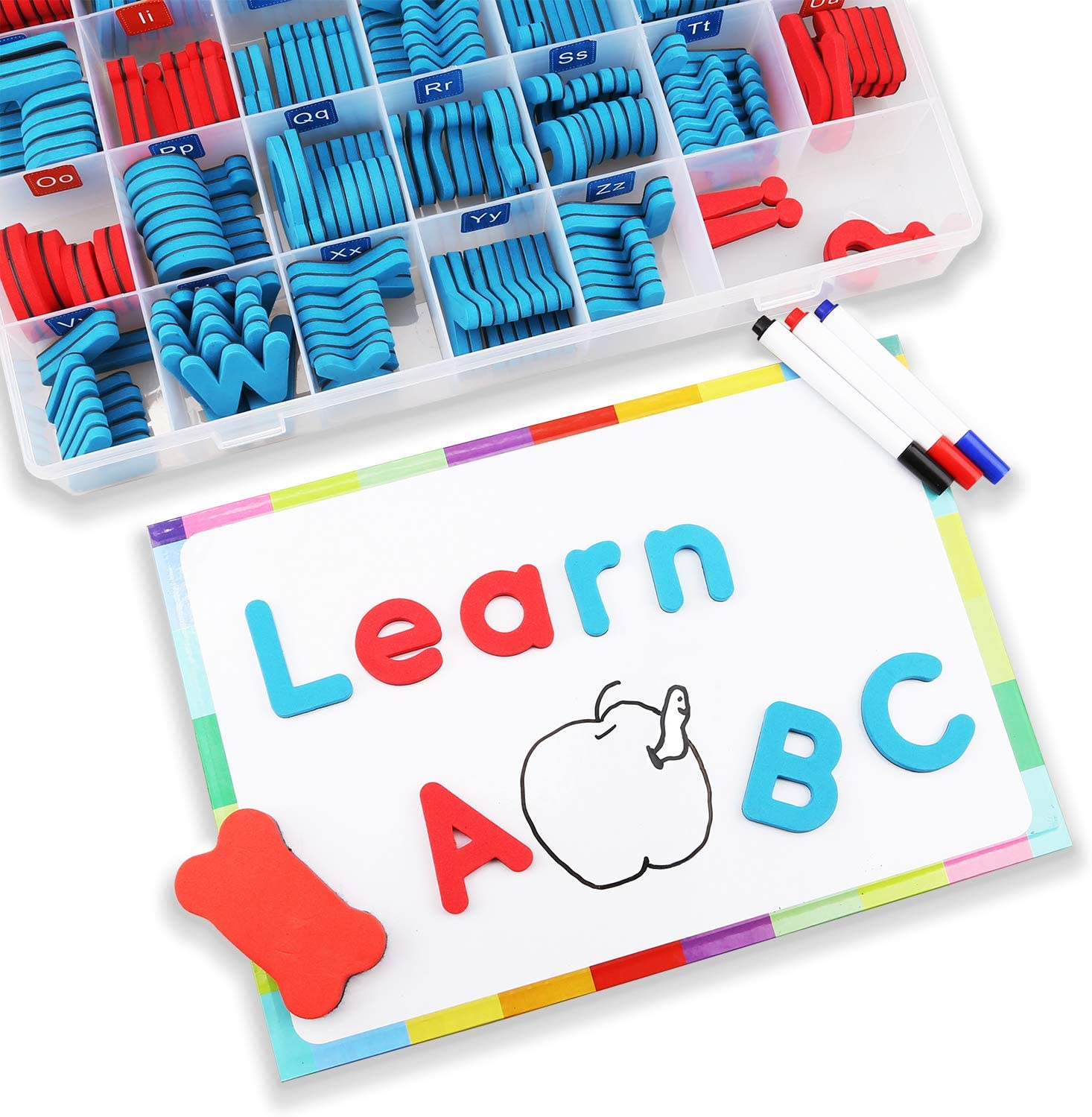Alphabet Lowercase and Uppercase Foam Magnets with White Board 5-Colors CHUCHIK ABC Magnetic Letters Set for Kids 4 Pens and Eraser.
