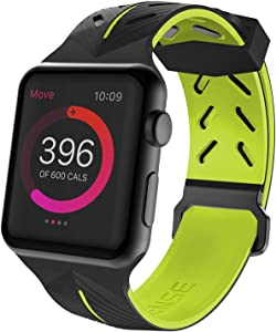 X-Doria Action Band, Compatible with 42mm Apple Watch - Replacement Band - Soft Silicone, Active Watch Band - Compatible with Apple Watch Series 1, Series 2, Series 3 and Nike+, [Black/Yellow]