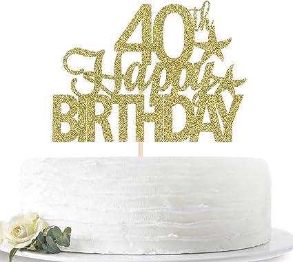 Astonishing Amazon Com Glitter Gold Happy 40Th Birthday Cake Topper Hello 40 Funny Birthday Cards Online Inifodamsfinfo