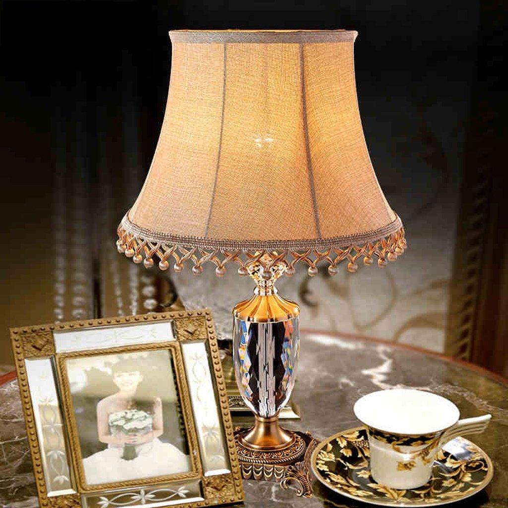 Europäische Tischlampe Schlafzimmer Lampe Kristall Lampe E27 Lichtquelle Studie Dekoration Nachttischlampe (ohne Lichtquelle)