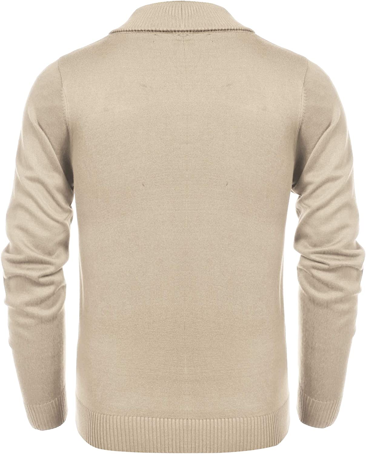COOFANDY Mens Shawl Collar Long Sleeve Pullovers Casual Slim Fit Cable Knit Sweaters