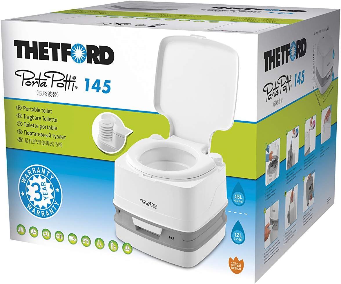 Thetford 92802 Porta Potti 145 Tragbare Toilette Qube Weiß Grau 330 X 383 X 427 Mm Auto