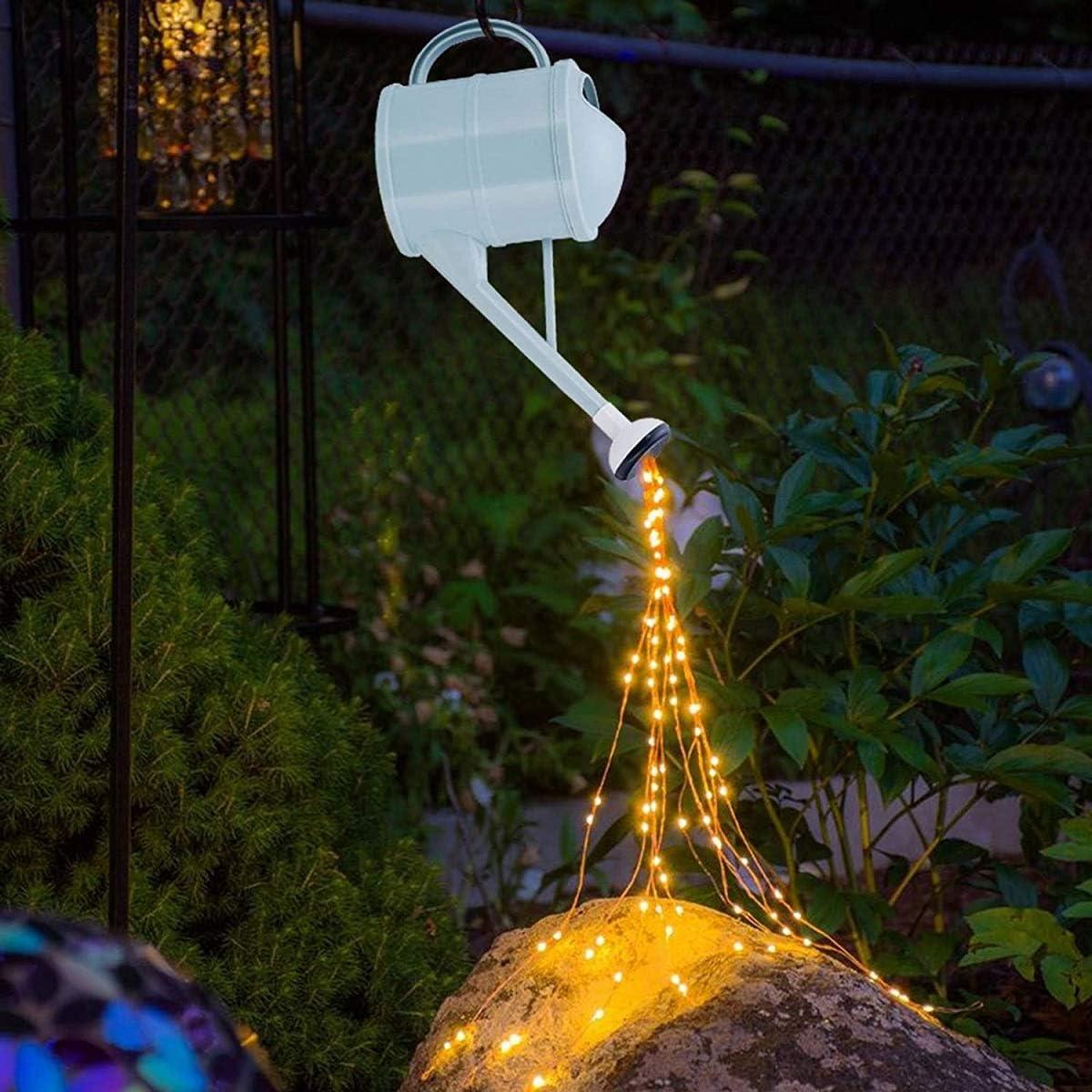LinHut Jardín ducha luz de riego, caldera luz solar LED jardín arte luz decoración