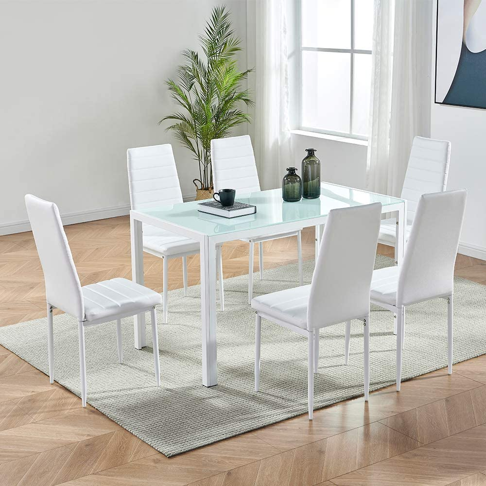 Amazon Com Ids Online Deluxe Glass Dining Table Set 7 Pieces Modern Design With Faux Leather Chair Elegant Style Anti Dirt White Furniture Decor