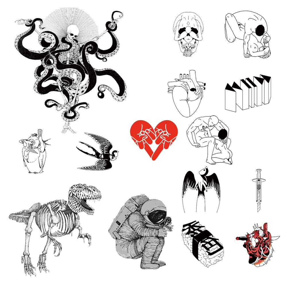 12 Creative Design Temporary Tattoos by Inktells 2021 new,Waterproof fake tattoos for Women Men Adult Boys Girls,Neck Back Arm Hand Stickers about Amimal Statue Astronaut Oriental Culture(4 sheets)